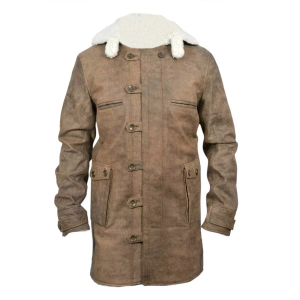 Dark Knight Rises Bane's Distressed Faux Shearling Leather Coat Jacket